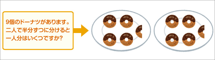 9個のドーナツがあります。二人で半分ずつに分けると一人分はいくつですか?