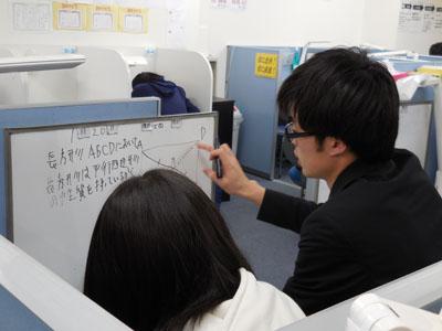 どこよりも親身! 教室では、優秀で面倒見のいい講師陣が生徒一人ひとりに合わせて親身に授業を行います。学校の提出物や宿題など何でも相談してください。