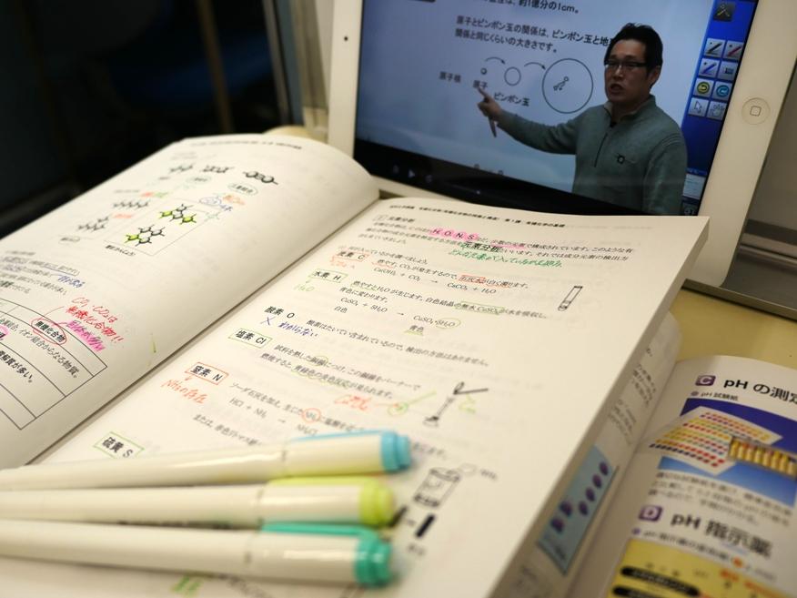 【大学受験】「ベリタスV」 電子黒板による映像授業と専用テキストの組合せで、毎日講座を進めることが出来ます。毎日受講できるので、やる気がそのまま成果に直結します。
