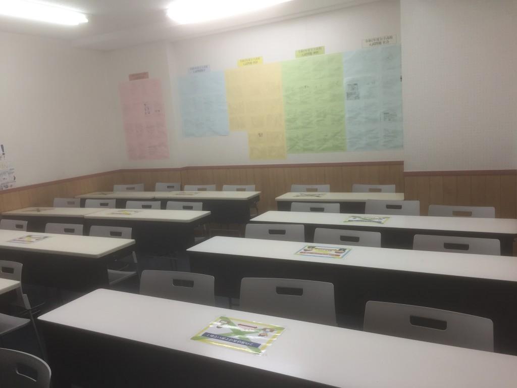 教室の風景です。現在はソーシャルディスタンス仕様になっています。