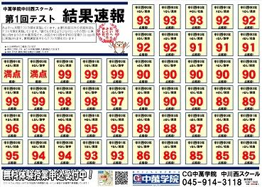 CG中萬学院 中川西スクール 成績UP 定期テスト 中間 期末