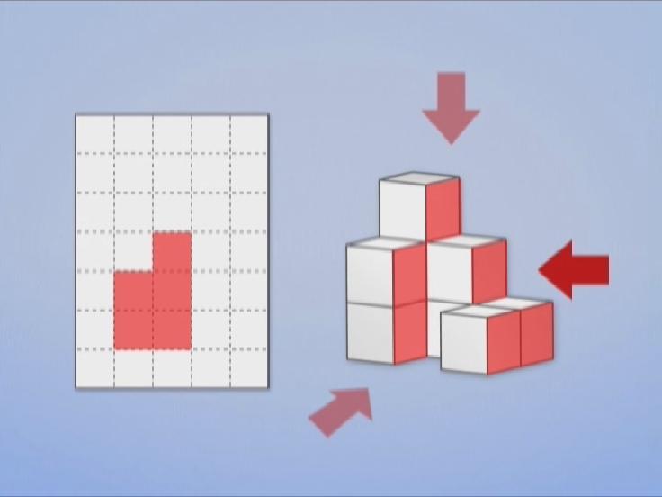 文章題だけでなく、図形もDVDを見ながら、イメージを深めていきます。どんな形になるのかな?