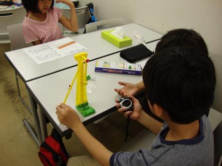 ☆5月理科実験教室で「ふりこ」の振れかたのきまりを勉強しました。  毎回、楽しくてためになる実験をおこなっています。